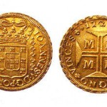 The original dobrão, with a value of 20 mil-réis. This was the most valuable coin in the Brazilian colonial era.